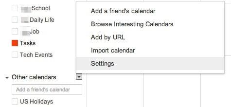 Google Calendar Setting