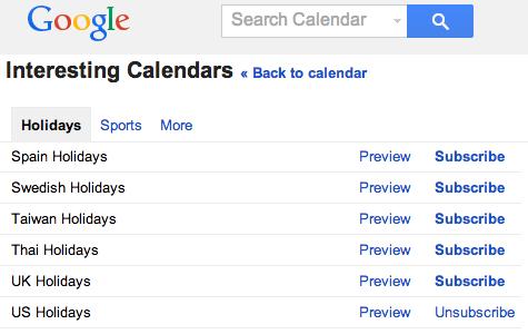 Google Public Calendars