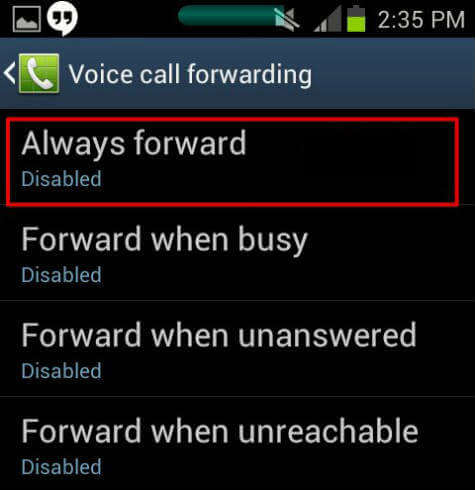 android always forward smart phone unreachable