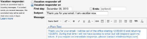 gmail vacation response setting