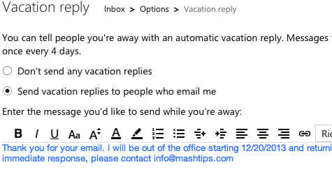 hotmail vacation response setting