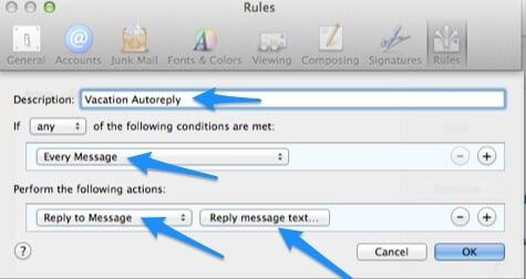 mac mail auto response setup