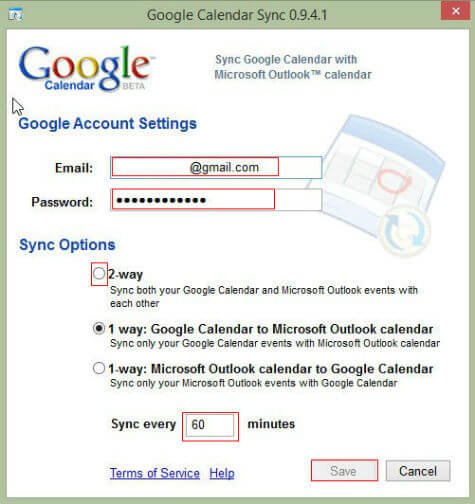 Google calendar sync windows