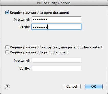 MAC PDF Security Password Enter