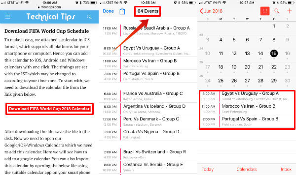 FIFA World Cup 2018 Schedule iPhone