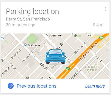 Google now track car parking