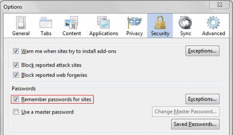 Firefox Disable Autosaving Password