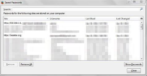 Firefox Saved Password