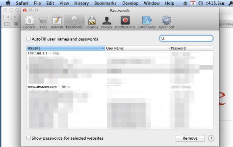 Safari Saved Passwords