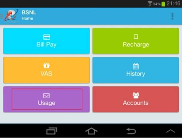 bsnl usage summary app