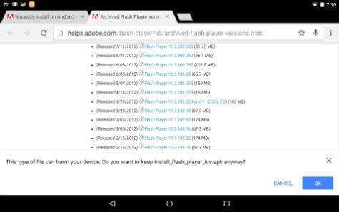 install flash apk confirm