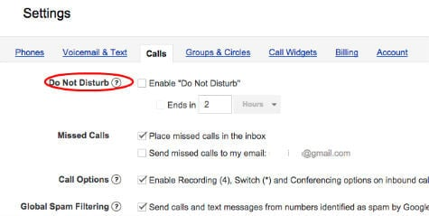 google voice do not distrurb