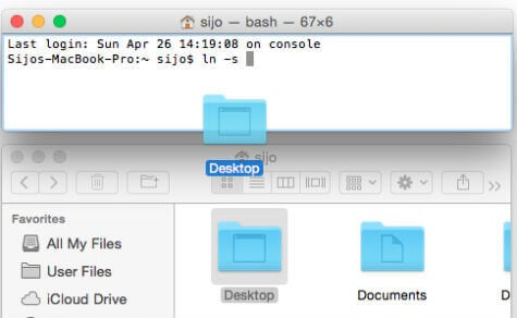drag mac desktop to terminal