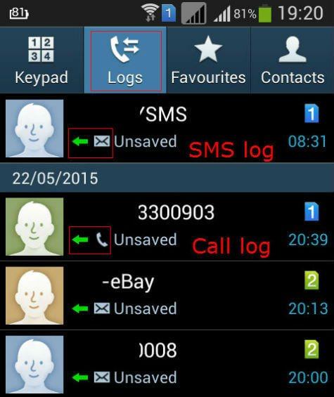 hide sms log from call logs