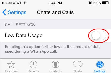 whatsapp call low data setting