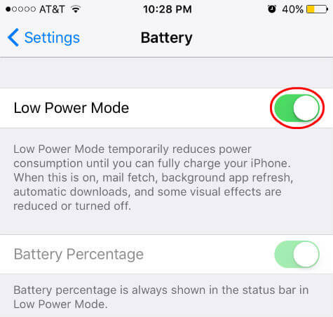 ios9 low power mode