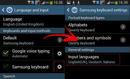 Android keyboard settings