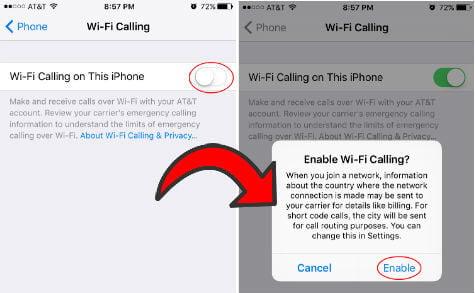 WiFi Call turn on iOS