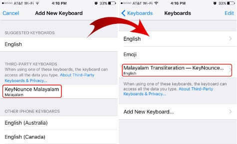 ios keyboard add