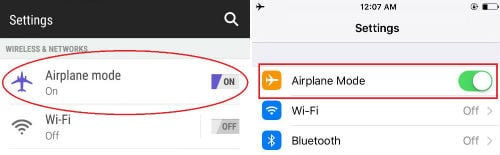 android-ios setting airplane