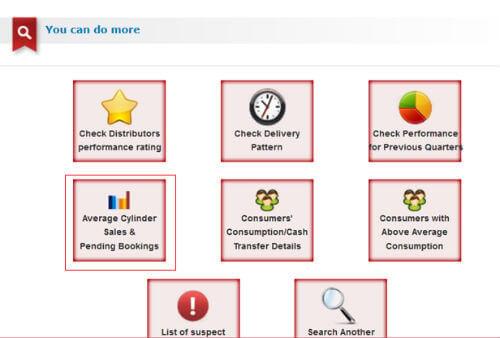 cooking lpg cylinder status online