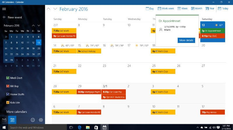 Google Calendar on Windows 10