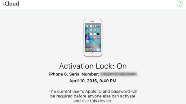iPhone activation lock result