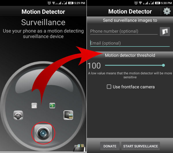 android motion detector threshold