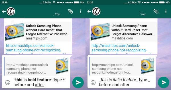 WhatsApp bold italic
