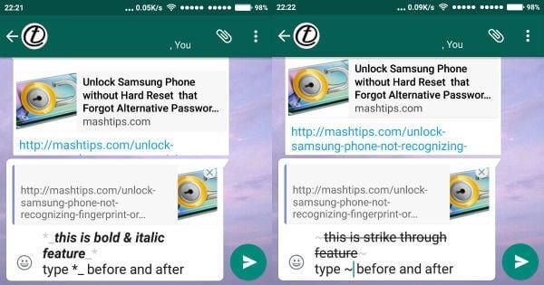 WhatsApp bold italics strike