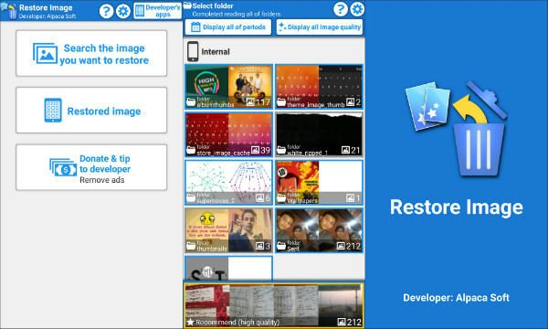 Android Select Image to Restore