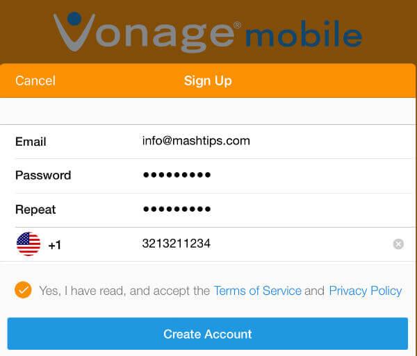vonage app register