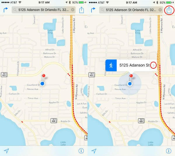 apple map pin location