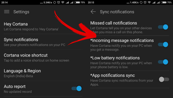 Enabling Cortana Notifications