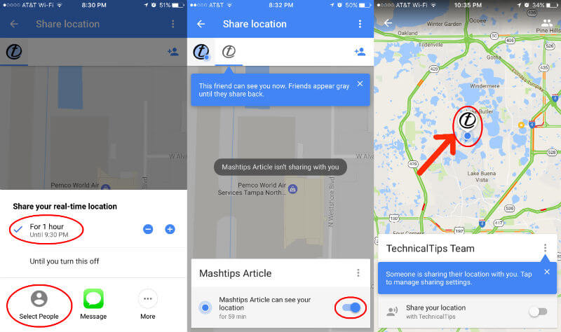 Google Realtime Location Sharing