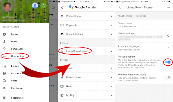 Google Home Contact Permission Set