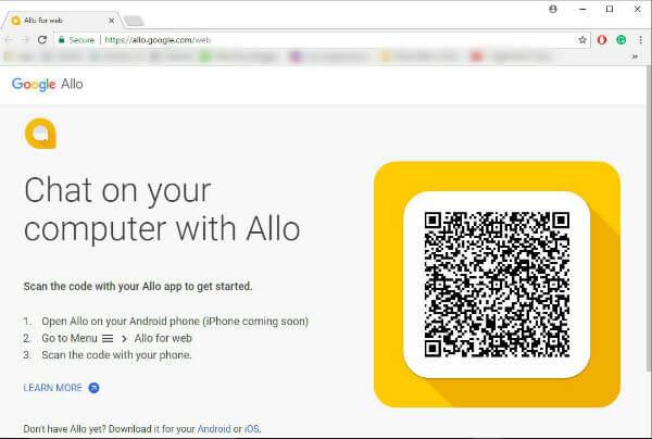 Google Allo Web App Welcome Page