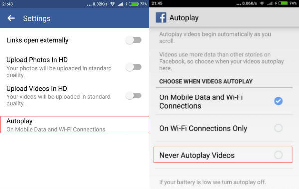 Android Facebook Autoplay Setting