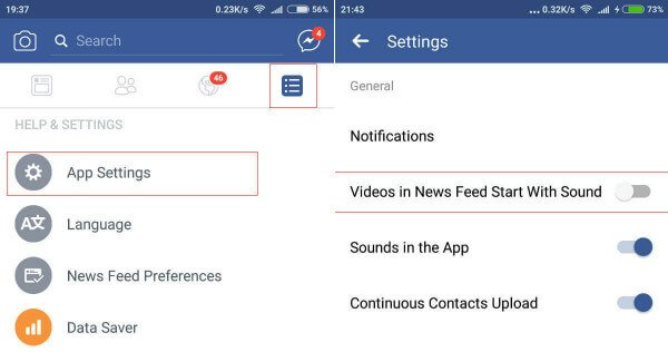 Android Facebook Settings