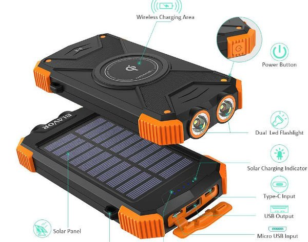 BLAVOR Solar Power Bank Qi Wireless Charger