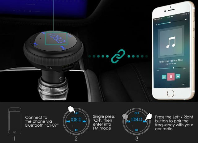 CHGeek Wireless In-Car Bluetooth FM Transmitter