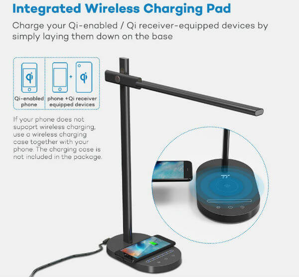 TaoTronics LED Desk Lamp Wireless Charging Pad