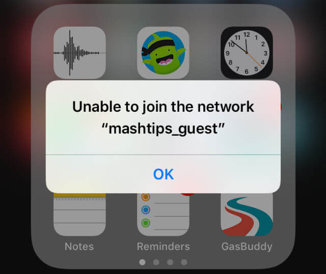 iOS WiFi Error