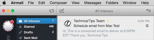 Mac Scheduled Email Delivered