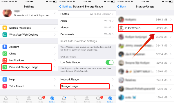 WhatsApp Storage Usage Details