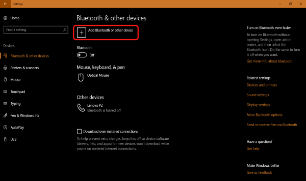 Windows 10 Bluetooth & Other Devices