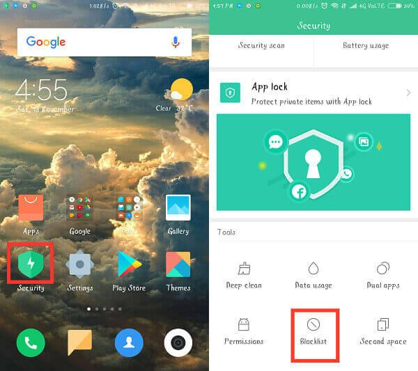 block number Android with security app
