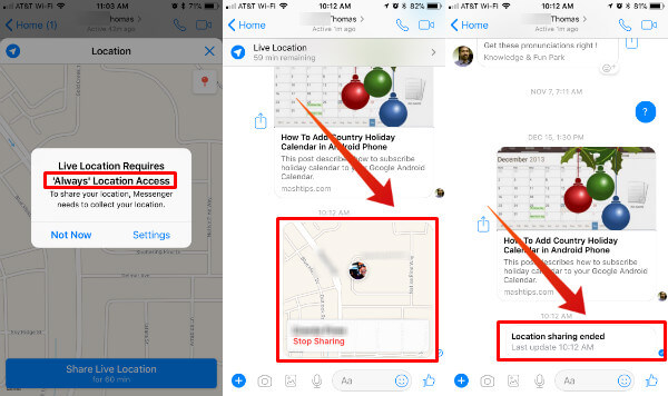 Messenger Live Location Stop Sharing iOS