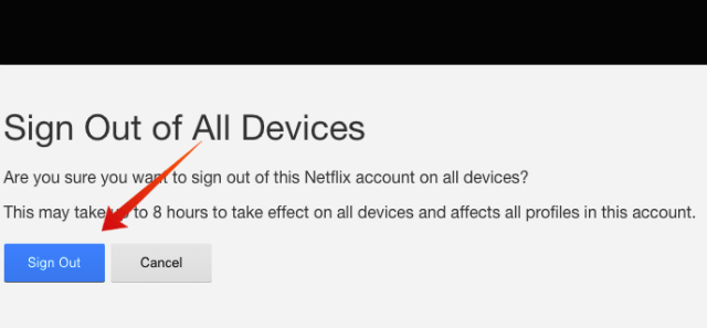 Netflix Sign out Confirm