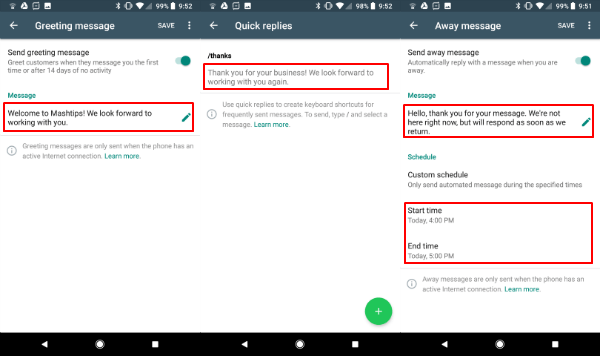 WhatsApp Business Auto Messages